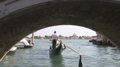 Shot of a gondola going under a bridge in Venice Italy. Stock Footage