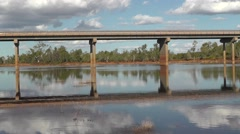 Bridge outback australia truck traffic Stock Footage
