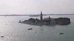 Far shot of an island in the ocean at Venice. Stock Footage