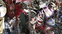 Masks at a street market in Venice Italy. Stock Footage