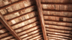 Wood ceiling in a home in Italy. Stock Footage