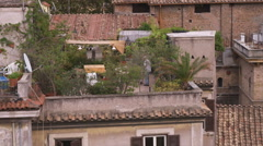 Man tending to a rooftop garden in Rome Italy. Stock Footage
