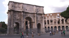 Stock Video Footage of Arch of Constantine in Rome Italy.