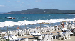 Wide shot of a beach resort at the ocean at Punta Ala Italy. Stock Footage