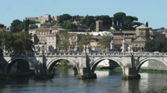 Shot of an old bridge in Rome Italy. Stock Footage