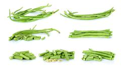 Collection Long bean isolated on the white background - stock photo