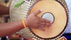 A man hit the Gong ancient drums with Thai Musical Instrument. Stock Footage