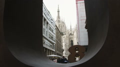 City of Milan Italy through a window. Stock Footage