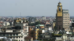Milan Italy cityscape with a bell tower. Stock Footage