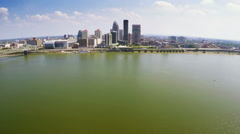 Aerial footage of Louisville skyline and the Ohio River Stock Footage