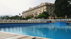 Shot of the Tremezzo Hotel on Lake Como in Italy. Stock Footage
