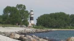 Lighthouse Buelk Kiel Germany Stock Footage