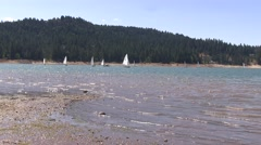 The the sailboats get ready for the race Stock Footage