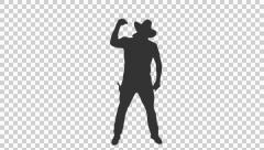 Silhouette of country western cowboy dancing & shooting (on alpha matte) Stock Footage