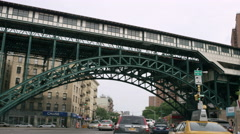 Harlem subway bridge with projects and ghetto in 4K, NYC - stock footage