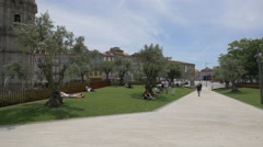 Walking and relaxing in Plaza Lisboa, Porto Stock Footage