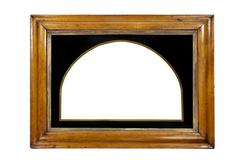 Light coloured wooden picture frame isolated with inner and outer clip paths - stock photo