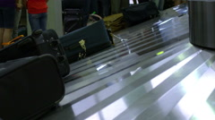 Luggage at the baggage claim at the SLC airport. - stock footage