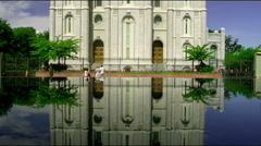 Front of the temple of the Church of Jesus Christ of Latter-Day Saints in SLC Stock Footage