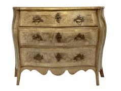 Old European chest of drawers commode style inlaid marquetry detailed Stock Photos