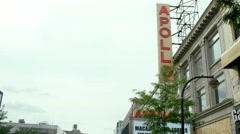 Apollo Theater establishing shot tilting down sign 125th Street Harlem 4K NYC Stock Footage