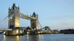 Time-lapse of bridge over River Thames at night in London. Stock Footage