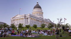 Time-lapse of people at a summer concert in SLC Utah. Stock Footage