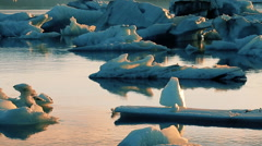 Icefjord landscape iceberg climate change floating glacial sunlight reflectio Stock Footage