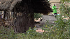 Grass hut in Africa. Stock Footage