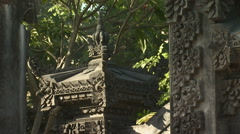 Close up of an ancient, ornate wall in Bali. Stock Footage