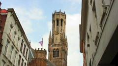 Tower of a church in Brugge, Belgium. Stock Footage