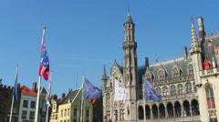 City plaza in Brugge, Belgium. Stock Footage