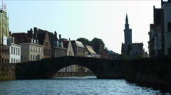 Bridge on a canal in Brugge, Belgium. Stock Footage
