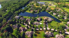Affluent Rural Neighborhood With Woods and Lakes, Aerial View Stock Footage