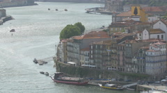 Old buildings on the riverside in Porto Stock Footage