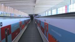Horizontal escalator at Ben Gurion Airport Stock Footage