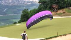 Stock Video Footage of Paraglider Launch, French Alps, France