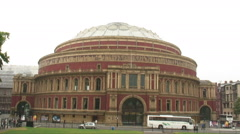 Cars drive past Royal Albert Hall in London. Stock Footage