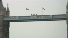 Zoom out shot of the Tower Bridge in London. Stock Footage