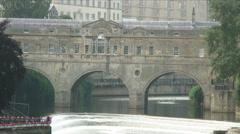 Stone bridge over a river in Bath, England. Stock Footage