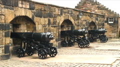 Old style cannons Stock Footage