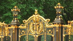 Close-up shot of gates of Buckingham Palace in England. Stock Footage