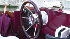Steering wheel of a boat in Europe. Stock Footage