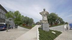 The Antonio Ferreira Gomes statue and Lisboa Square in Porto Stock Footage