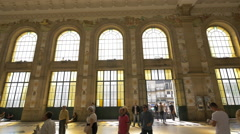 Sao Bento station with large windows in Porto Stock Footage