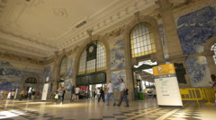 Sao Bento railway station with beautifully painted walls in Porto Stock Footage