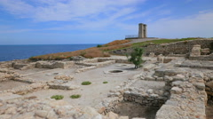 The ancient city of Tauric Chersonesos. Stock Footage