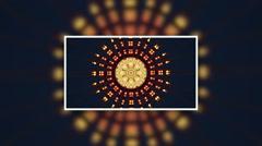 Blinking LED lights background in yellow and orange window kaleidoscope effec Stock Footage
