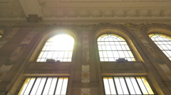 The large windows of Sao Bento railway station in Porto Stock Footage