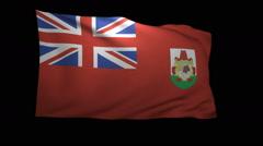 Stock Video Footage of 3D Rendering of the flag of Bermuda waving in the wind.